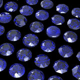 Round blue gemstone isolated on black background.  Benitoit. Sap Royalty Free Stock Image