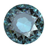 Round blue gemstone on white background. Grandidierite. Sky blue Royalty Free Stock Photography