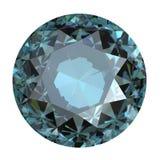 Round blue gemstone on white background. Grandidierite. Sky blue royalty free stock photography