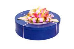 Round blue gift box Stock Photos