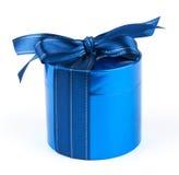 Round blue gift box Stock Image