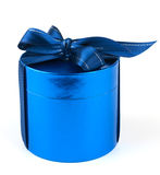 Round blue gift box Stock Photography