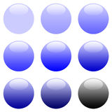 Round Blue Gradient Web Buttons stock illustration