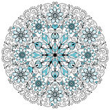 Floral lacy vintage round pattern. Round blue-gray-black floral lacy vintage pattern on white (vector Stock Photos