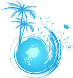Round blue grunge background with palm. Trees and floral decoration Stock Image