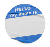 Round Blue Hello Tag stock images