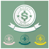 Round blue hundred percent money Currency Dollar badge on b Royalty Free Stock Images