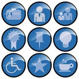 Round Blue Icon Buttons. Set of nine icon buttons depicting various commands. Circular buttons are blue with white images with black edging royalty free illustration