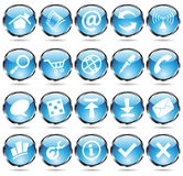 Round blue icons. Blue glossy web icons with metallic frames Stock Photos