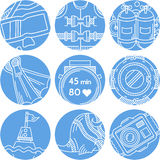 Round blue icons for diving Royalty Free Stock Photo