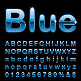 Round blue letters. Blue alphabet, fat blue rounded letters, vector illustration Royalty Free Stock Images