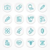 Round blue medical icons. On white, medicine symbols in circle. Vector illustration Royalty Free Stock Image