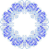 Round blue pattern frosty flowers on a white background Royalty Free Stock Photography