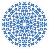 Round blue pattern on white background. Round flower style blue pattern on white background Royalty Free Stock Photography