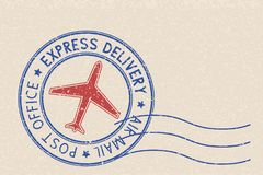 Round blue postmark with red airplane symbol on beige background. Vector illustration Stock Photography