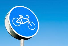 Round blue road sign Royalty Free Stock Photo