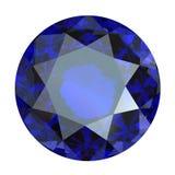 Round blue sapphire. Isolated on white background. Gemstone Royalty Free Stock Photos