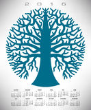 A 2016 round blue tree calendar. For print or web Stock Illustration