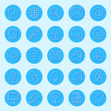 Round Blue Web Icons. Set of 25 round blue icons for web Stock Image