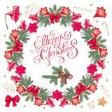 Round Bożenarodzeniowa girlanda z sezonów świątecznymi elementami Tradycyjny ładny wianek z Bożenarodzeniową dekoracją royalty ilustracja