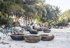 Round boats on the beach Stock Photography