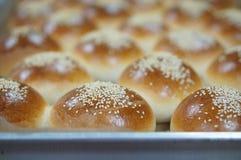 Round bochenek chleb z sezamowymi ziarnami na tacy obraz royalty free