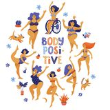 Round body positive banner with dancing girls. Round body positive, self acceptance banner, poster design with happy slim and plus size women in bikini dancing stock illustration