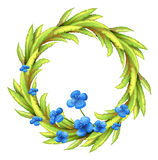 A round border with blue flowers Stock Photos