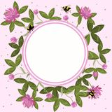 Round border of clover leaves, flowers and bumblebees, empty flower frame. Vector composition royalty free illustration