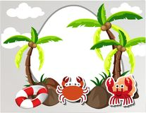 Round border with crabs and coconut trees. Illustration Royalty Free Stock Photography