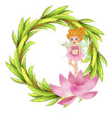 A round border design with a fairy in a pink dress Royalty Free Stock Photography
