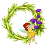 A round border with a fairy and violet flowers Royalty Free Stock Image