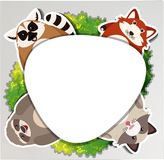 Round border with sloth and raccoon Royalty Free Stock Images