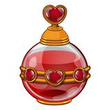 Round bottle with perfume or elixir and heart for valentine day. Round bottle with perfume or elixir and heart. Original gift for valentine day. Image in cartoon Stock Image
