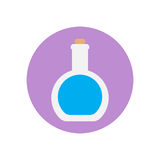 Round bottom flask flat icon. Round colorful button, Lab glassware circular vector sign, logo illustration. Royalty Free Stock Photos