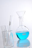 Round-bottom flask and glass funnel Stock Image