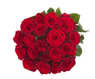 Round bouquet of dark  red roses. Round bouquet of dark red roses isolated on white background Royalty Free Stock Photography