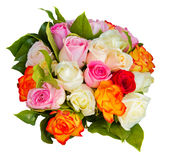 Round bouquet of roses. Round bouquet of multicolored roses isolated on white background Stock Images