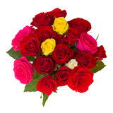 Round bouquet of roses. Round bouquet of multicolored roses isolated on white background Royalty Free Stock Images