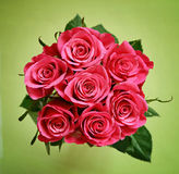 Round bouquet of roses. On green background Stock Photos
