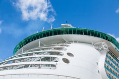 Round Bow Balconies on Cruise Ship. Cabins on Bow of Luxury Cruise Ship Stock Photo