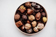 Box of chocolate candy. royalty free stock photos