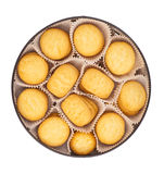 Round box with cookies Royalty Free Stock Photography