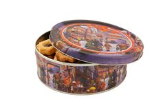 Round box with cookies. On a white background Royalty Free Stock Images