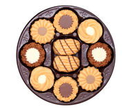 Round box with cookies Royalty Free Stock Photos