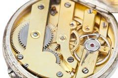 Round brass clockwork of retro pocket watch Royalty Free Stock Photography