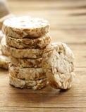 Round bread slices of whole wheat flour. Stock Photo