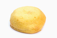 Round bread on white background. Isolate royalty free stock image