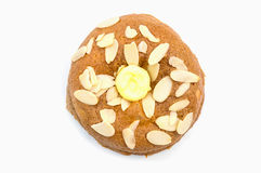 Round bread on white plate background. Isolate stock image