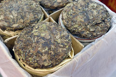 Round brick tea Stock Photo